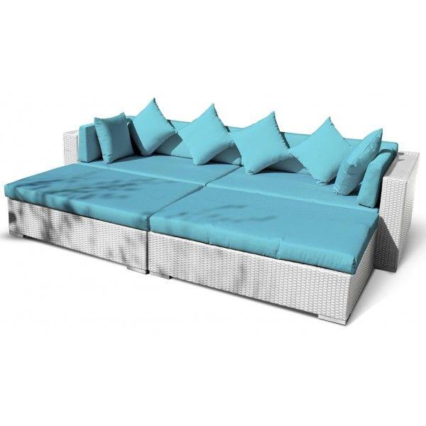 Lounge Ligbed Sunflower Wit Aqua blauwe kussens - 24Designs