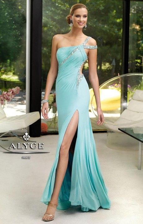$398.00  Sexy meets classy in Alyce Paris 6083! This sexy sleek dress is fitted to the body and helps show off that figure the way it's meant to be shown! A one shoulder bodice has a double strap that showcases the shoulder and is surrounded in dazzling silver crystals. A large cut out shows of the torso, while a high front slit shows off the legs! Perfect for a pageant or prom, this dress is definitely a Genealogy favorite!