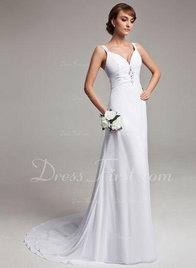 Princesový Véčkový výstřih Dvorní vlečka Šifon Svatební šaty S Volán Zdobení korálky (002012150)