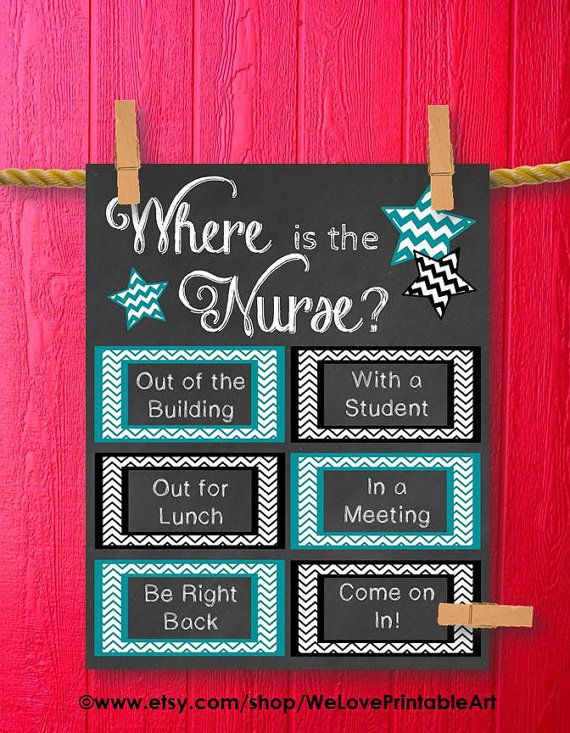 This printable sign would be great for a school nurses office door. It features chalkboard background with teal and black chevron boxes and