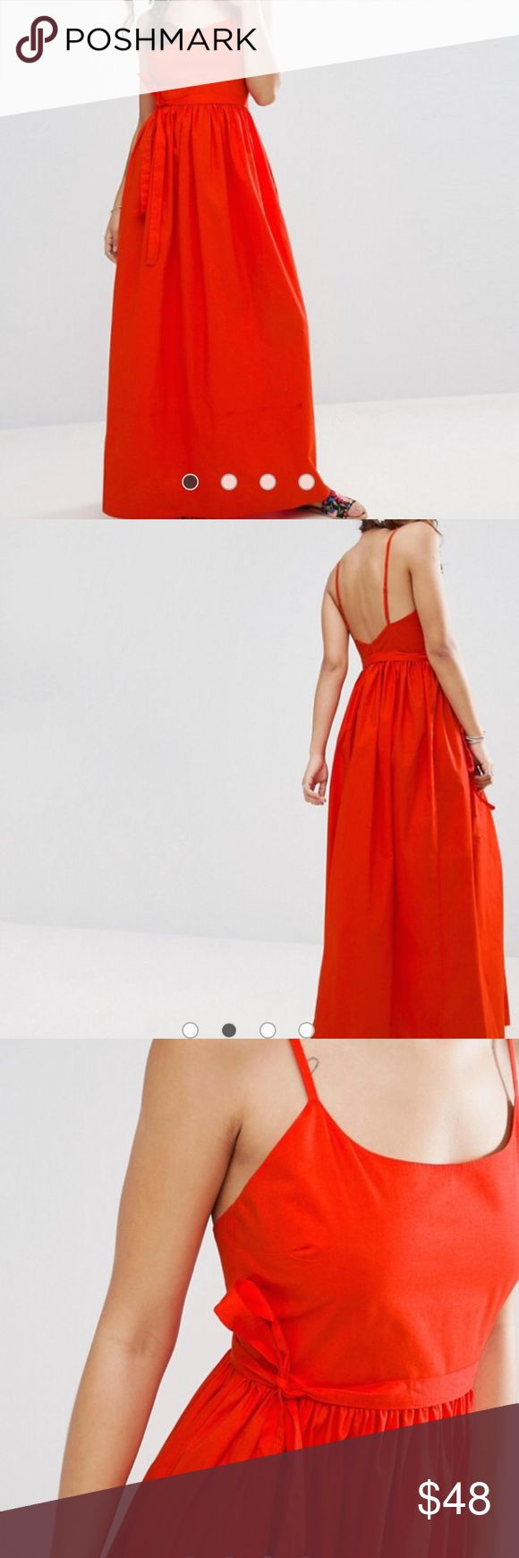 NWT ASOS RED MAXI DRESS WITH OPEN BACK Brand new!  Still in packaging. Asos Dresses Maxi