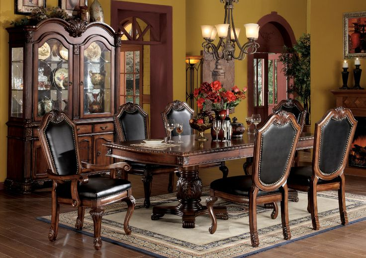 7PC Traditional Cherry Dining Room Set | Famsa | Catálogo en Línea de Electrónicos, Muebles, Computadoras, Minisplits, Línea Blanca y Más