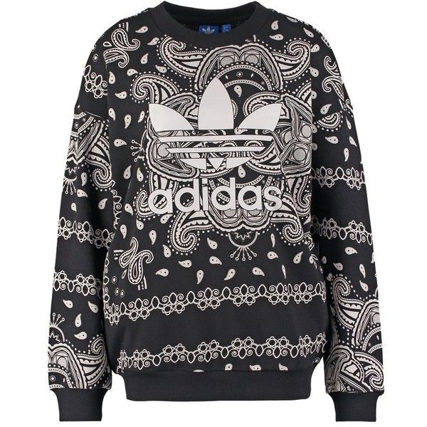 adidas Originals PAISLEY Sweatshirt/white ($75) ❤ liked on Polyvore featuring tops, hoodies, sweatshirts, sweaters, zzz winter storage, black, black sweatshirt, white crewneck sweatshirt, white crop top and black crewneck sweatshirt