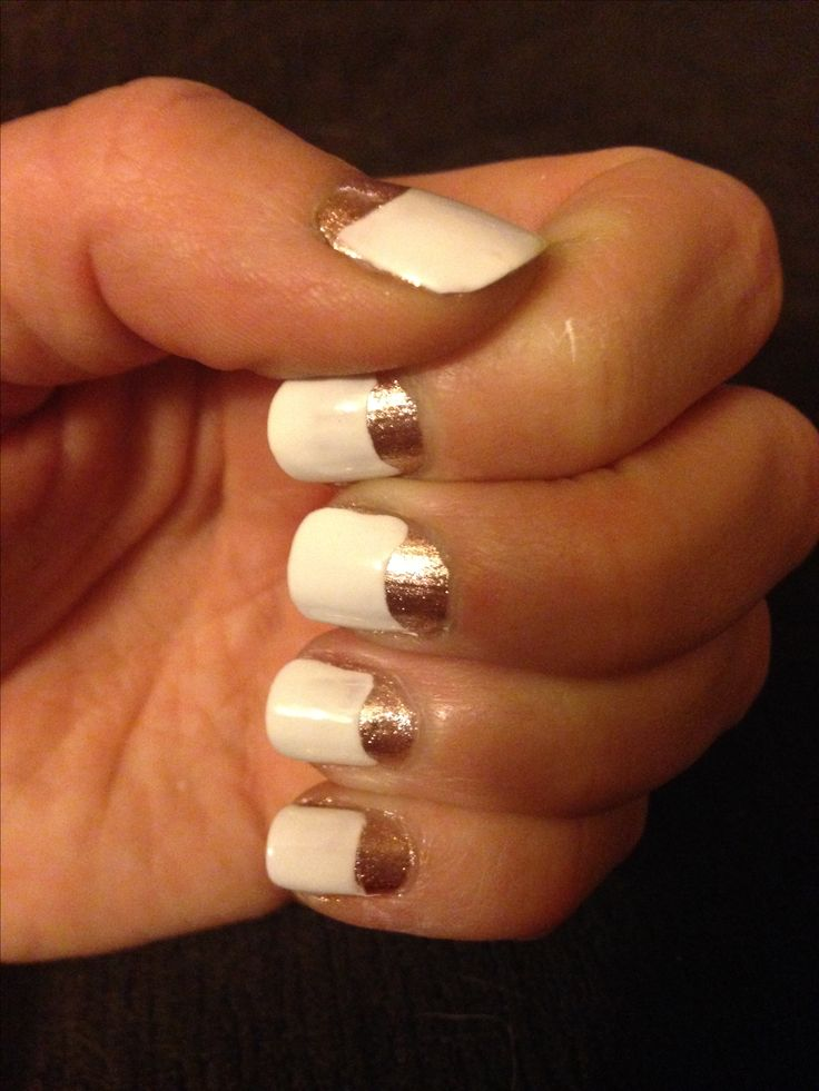 Gold and white half moon nails