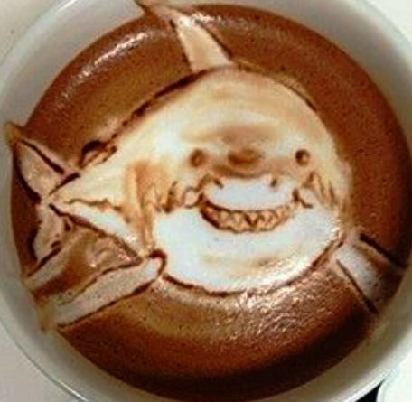 .·:*¨¨*:·. Coffee ♥ Art.·:*¨¨*:·. Shark latte art Haha