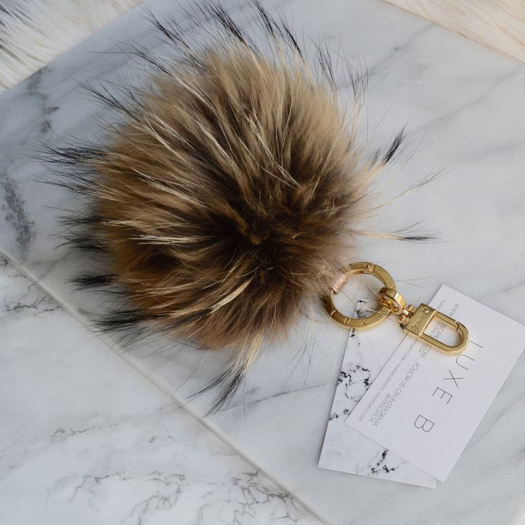 *Real Racoon Fur Pom Pom Keychain *Natural *15cm *Leather Strap with Custom LUXE B Gold Hardware