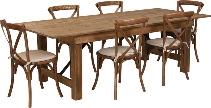 Series 8' x 40'' Antique Rustic Folding Farm Table Set with 6 ...