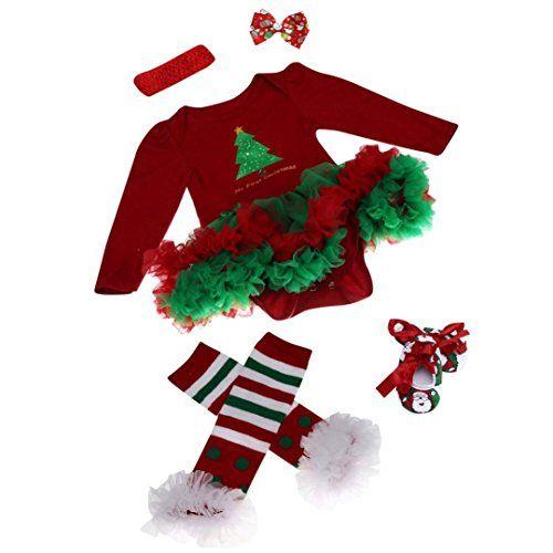 ZARU Mono recién nacido del bebé romper vestido con tutú ropa de los sistemas para bebé 4 piezas Trajes de Navidad (S, ROJO) #camiseta #friki #moda #regalo