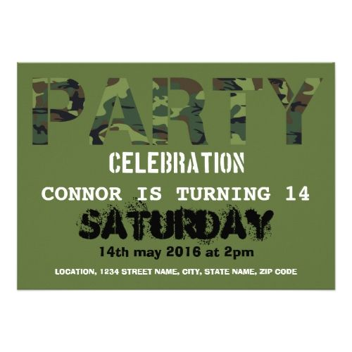 121 best military birthday party invitations images on pinterest army camouflage personalized kids birthday card stopboris Gallery