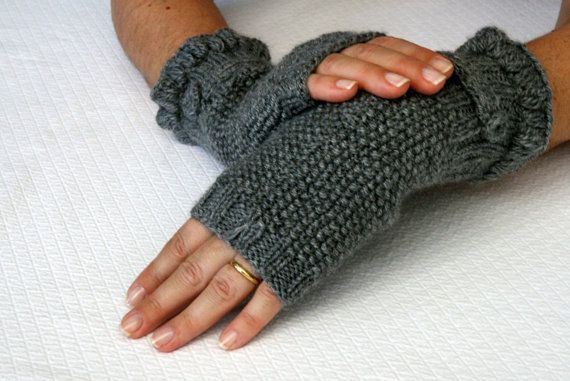 Grey Mittens with a Button Detail by aykelila on Etsy, $30.00