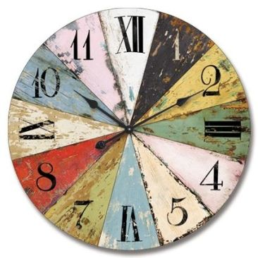 Wall Clock - Rnd Multi Coloured Wooden Clock from Earth Homewares