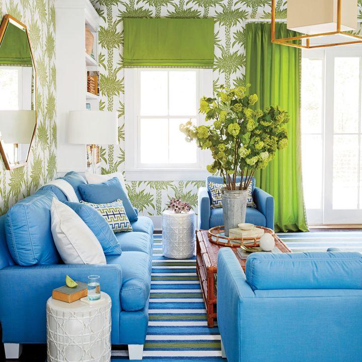 blue and green living room coastal living magazine hamptons showhouse - Coastal Living Rooms
