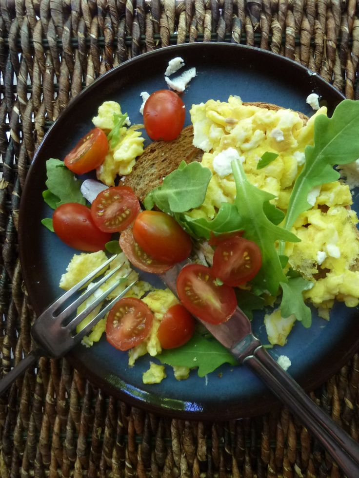 Goat Cheese and Scrambled Eggs Toast - with fresh tomatoes and arugula