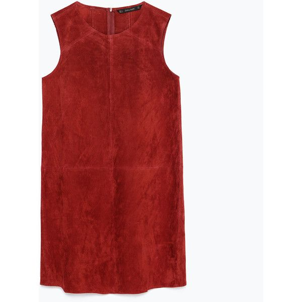 Zara Suede Dress found on Polyvore featuring polyvore, fashion, clothing, dresses, vestidos, zara, dark red, red dress, red suede dress and dark red dress