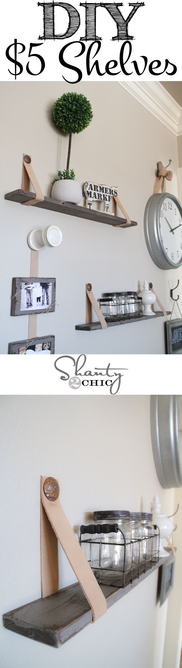 Easy $5 shelves with leather straps! This is so cool! Love!