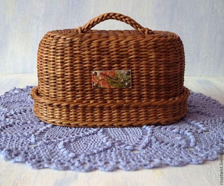 Купить Хлебница плетеная - коричневый, мокко, уютная кухня, загородный дом, хлебница, овальная, удобная