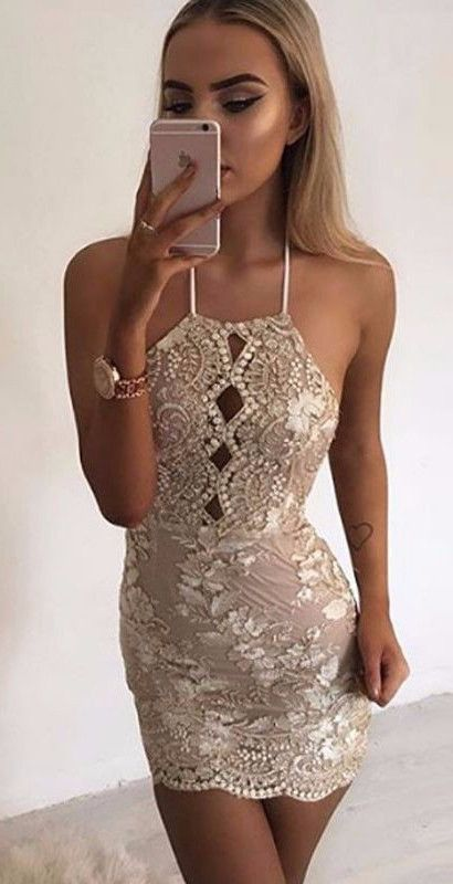 Halter neck gold sequin and lace floral embroidery designed open cross back mini dress Details Polyester, Sequin Lace Imported Delicate Cold Wash Fits True To Size