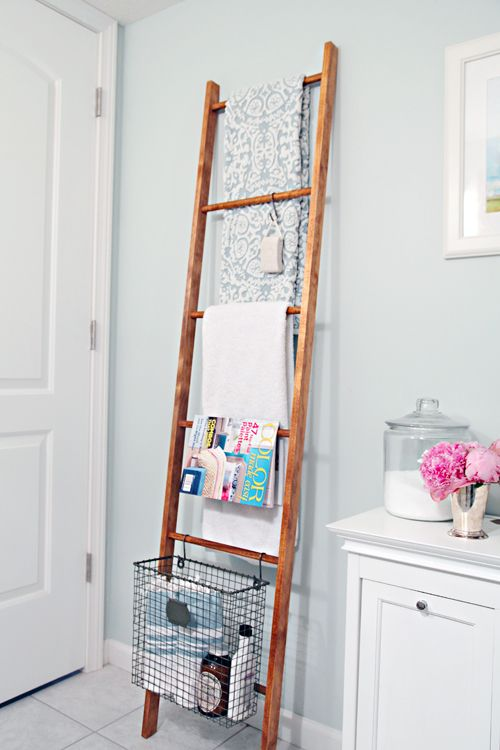 DIY Decorative Wood Ladder. Ten dollars for fab, flexible and functional storage?  Heck yes!  When you have the magical combination of dowels, hooks, and baskets, the storage possibilities are endless. @iheartorganize's wheels are definitely spinning, we may end up needing to make a few more! http://www.rustoleum.com/product-catalog/consumer-brands/varathane/premium-wood-stains