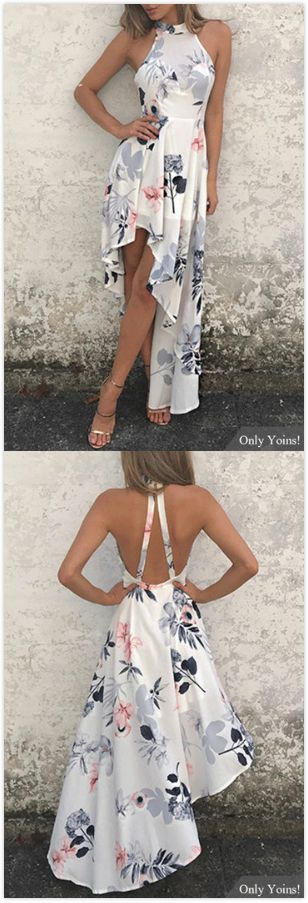 White Sexy Random Floral Print Irregular Hem Dress
