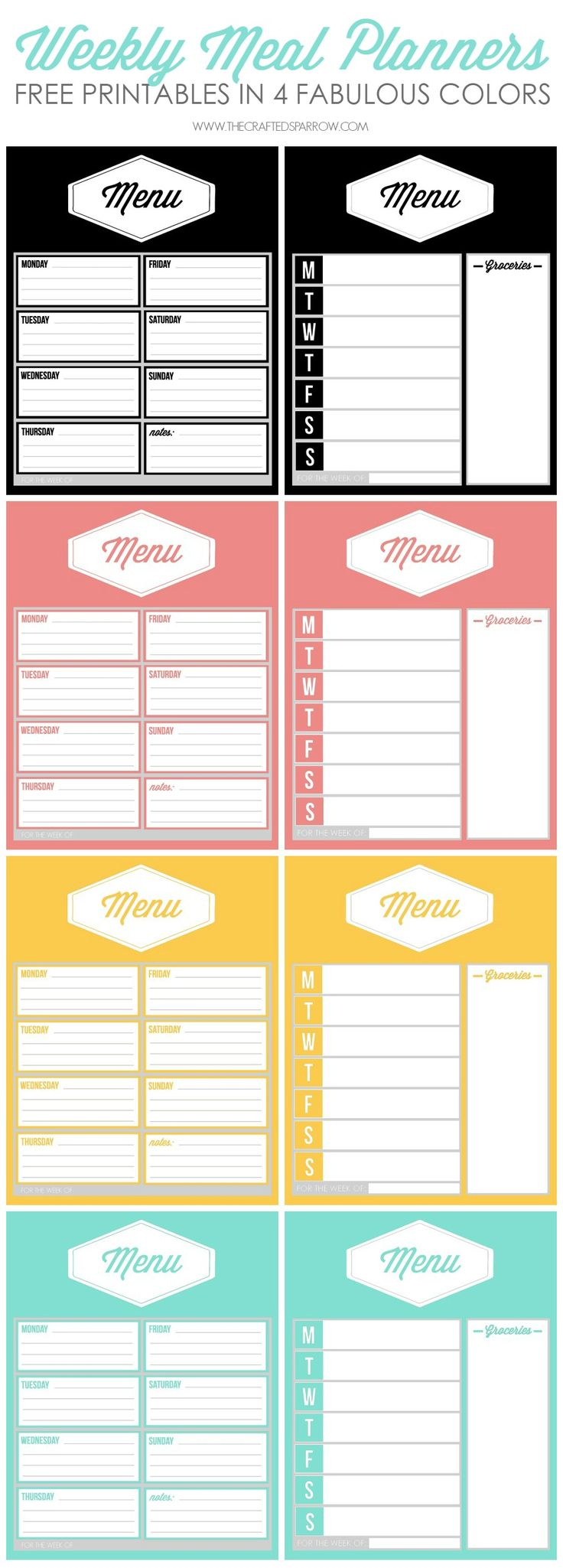 Free Printable Weekly Meal Planners - thecraftedsparrow.com