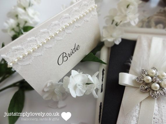 Vintage Pearl & Lace Wedding Name Cards (x10)