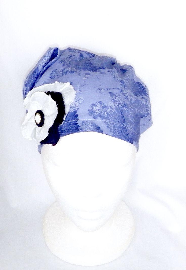 Chapeau chimio femme, bonnet chimio,foulard chimio,couvre tête,chapeau cancer,chapeau coton,été, bleu, béret,foulard tête, turban chimio by BleukaktusHats on Etsy