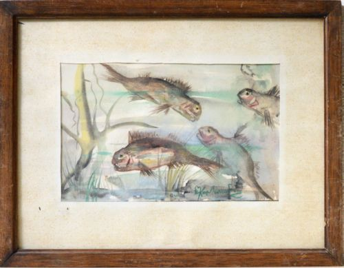 Watercolor-Painting-Fishes-At-The-Bottom-Of-The-Sea-Signed