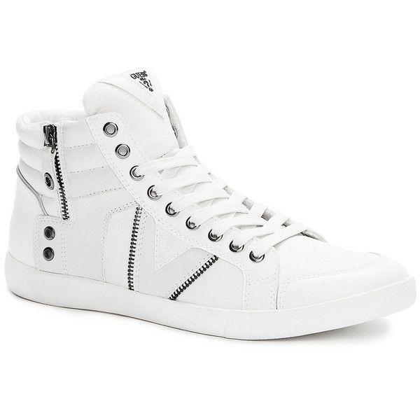 GUESS Jarlen High-Top Sneakers ($40) ❤ liked on Polyvore featuring men's fashion, men's shoes, men's sneakers, guess mens shoes, mens high top shoes, mens zipper shoes, mens high top sneakers and mens zip shoes
