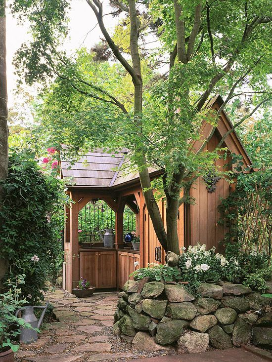 I love the style of this garden shed. Love that it has an outdoor potting area too. Shape Conquers Site