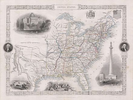 1850 Tallis Map Of The United States Texas At Fullest Extent Geographicus