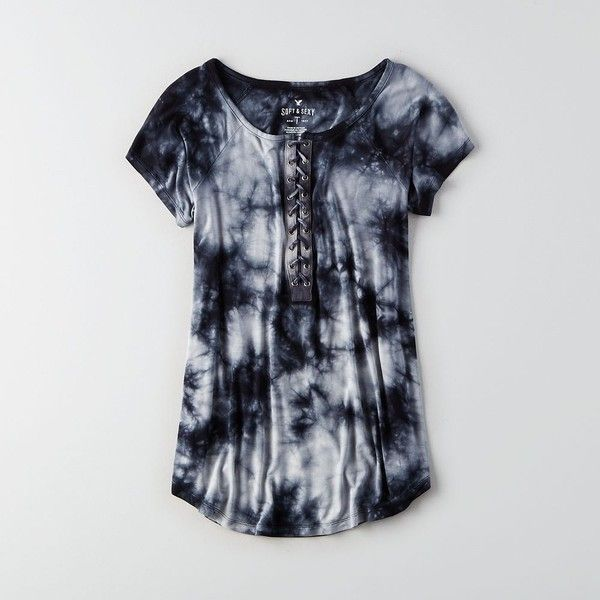 AE Soft & Sexy Lace-Up T-Shirt ($30) ❤ liked on Polyvore featuring tops, t-shirts, black, american eagle outfitters, relaxed tee, sexy tops, zipper tee and zip top