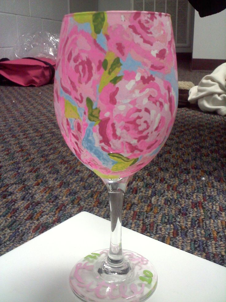 DIY lilly wine glass. Print Out A Design, Tape It To The Inside Of The Glass, Then Paint Away!