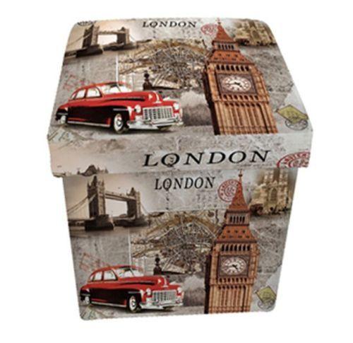 """Pouf-contenitore pieghevole in ecopelle con stampa """"London"""" 32x32x34h cm."""