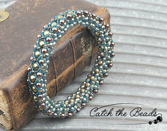 Blue and Beige Bangle Beaded Bracelet by CatchTheBeads on Etsy