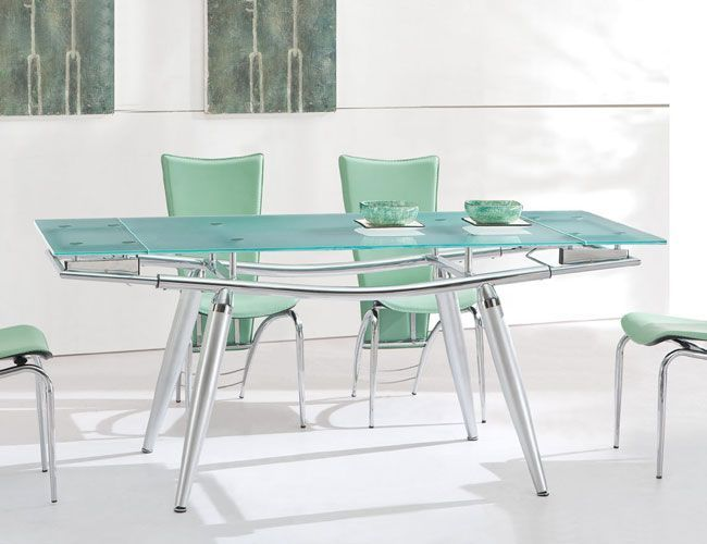 Extendable Contemporary Glass Top Dining Table