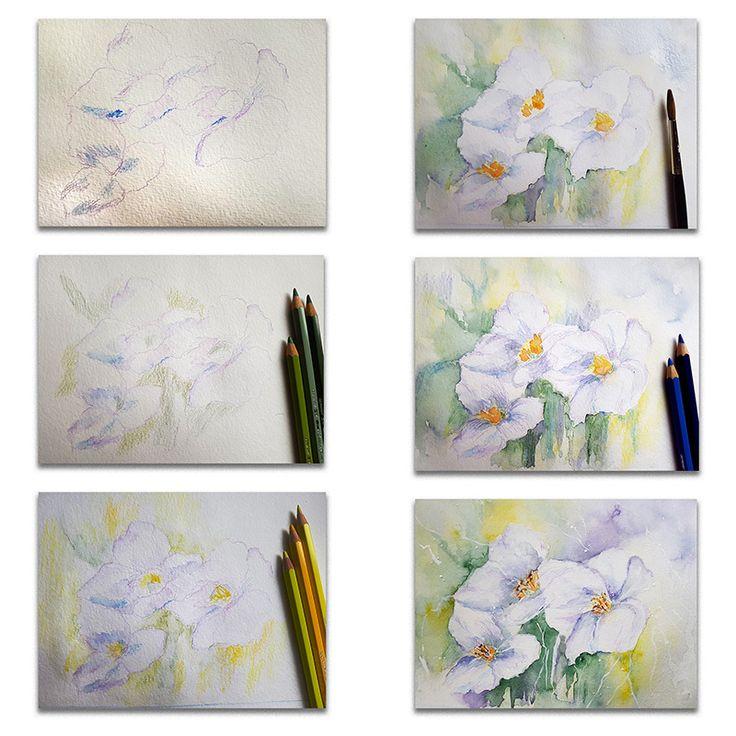 Schritt für Schritt ein Aquarellbild mit Blumenmotiv selber malen.