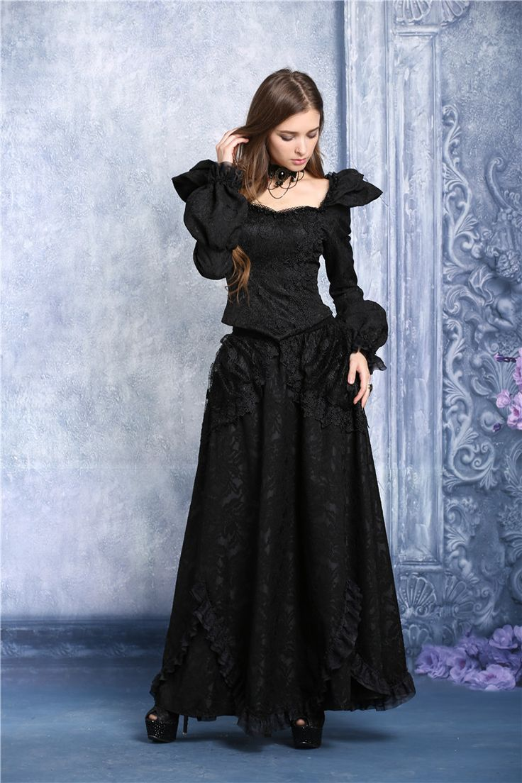 Longue jupe gothique romantique DARK IN LOVE
