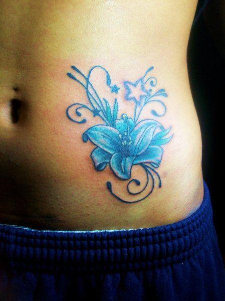 Blue flower tattoo, blue tattoo ideas