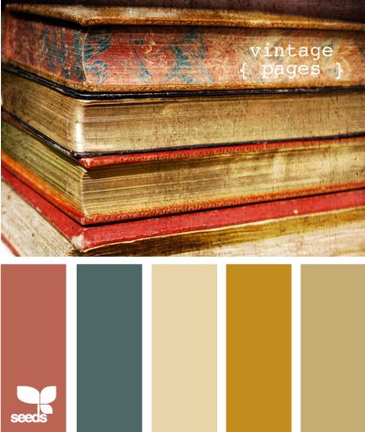 vintage pages: Indoor Paintings Color, Old Book, Color Palettes, Design Seeds, Vintage Book, Color Schemes, Baby Boys, Vintage Color, Colour Palettes