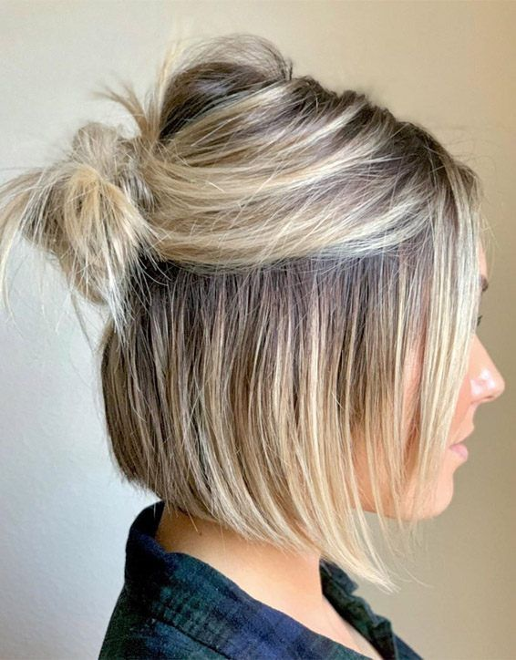 Super Cute Messy Bun Hairstyles To Update Your Look Voguetypes Short Hair Bun Hair Styles Thick Hair Styles