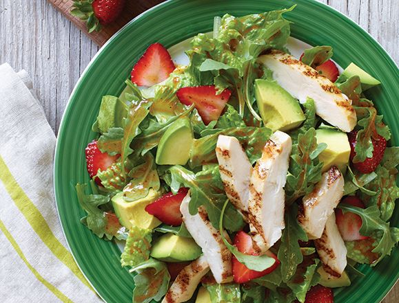 If you're eating at Applebees, they have some healthy options that are delicious! Here is the Avocado Chicken Salad. Anytime you are ordering out, remember to leave the cheese, croutons, and any fried items off. Also ask for a vinaigrette dressing on the side. Ranch and creamy dressings turn your salad into a fatty mess in just minutes.