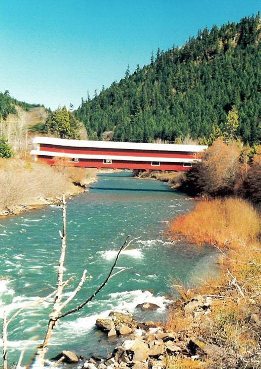 West Cascades Scenic Byway, Office (Westfir) Bridge, Lane County Oregon, Some of the best fall scenery in the state