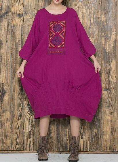 Baumwolle und Leinen Langes Kleid lila Maxi Kleid Mode von MaLieb