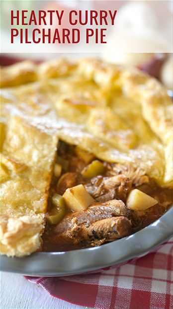 hearty curry pilchard pie