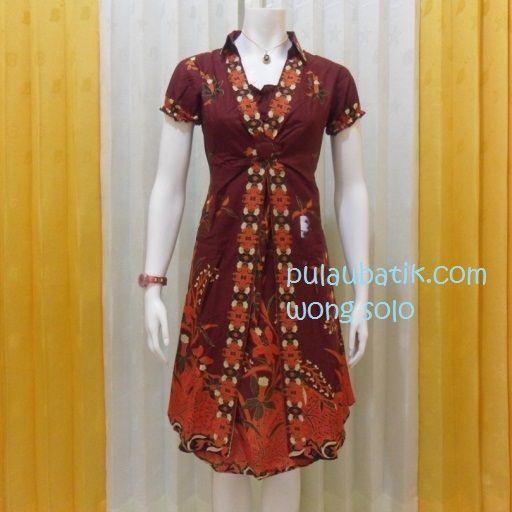 Toko jual model dress batik wanita murah bisa dipakai buat ke pesta dan acara resmi.  Bahan kain katun primissima dengan warna merah maron yang cantik elegan