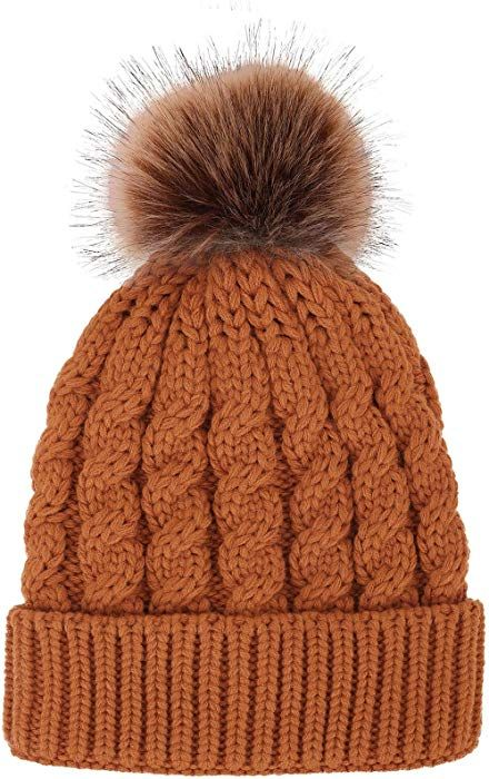 d0900adc085 Women s Winter Soft Knitted Beanie Hat with Faux Fur Pom Pom