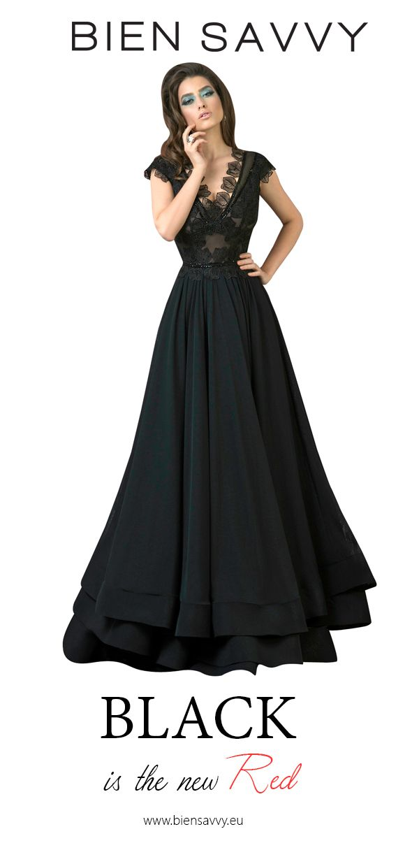 Black is the new Red.  Follow Your Grace, black a-line evening dress by BIEN SAVVY