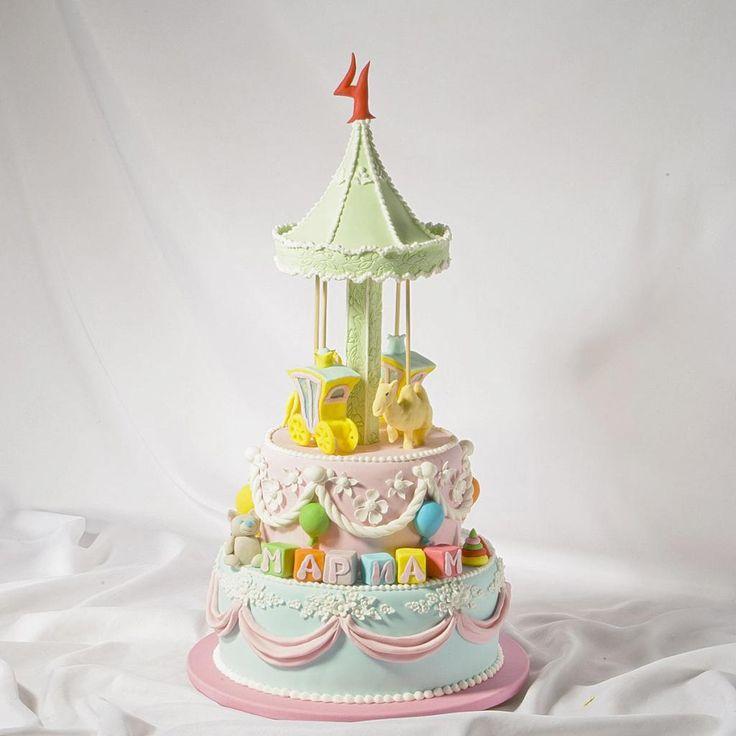 Торт Каруселька на 4 годика Мариам. Выполнено в Мастерская тортов Владимира Сизова.