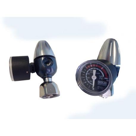 riduttore di pressione CO2 bombole ricaricabili - 1 manometro - manopola dritta