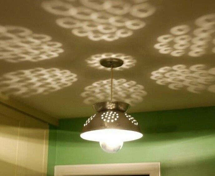 *A colander repurposed into a light for the kitchen. Upcycle Strainer
